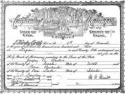 Jasper Alfonzo Rawlins and Cora May Burbank Marriage Certificate